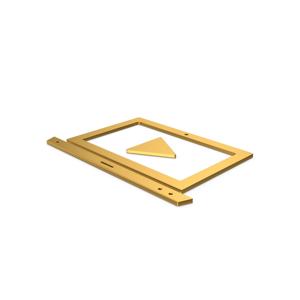 Logo: Gold Symbol Notebook With Play Button PNG & PSD Images