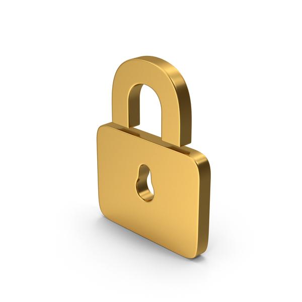 Gold Symbol Padlock PNG & PSD Images