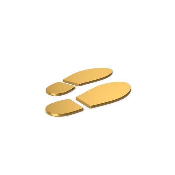 Logo: Gold Symbol Shoe Footprint PNG & PSD Images