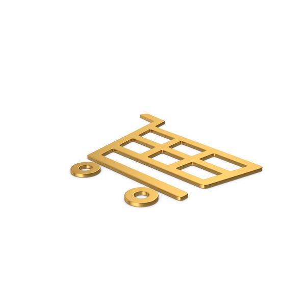 Gold Symbol Shopping Cart PNG & PSD Images