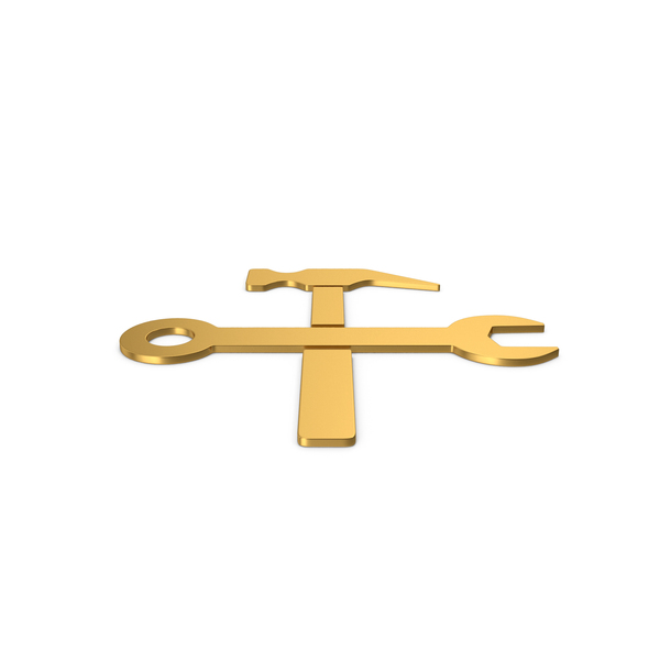 Symbols: Gold Symbol Wrench And Hammer PNG & PSD Images