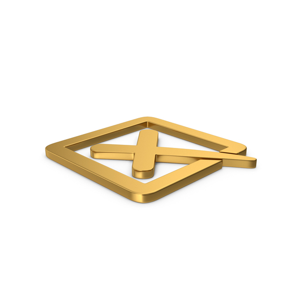 Industrial Equipment: Gold Symbol X Mark Box PNG & PSD Images