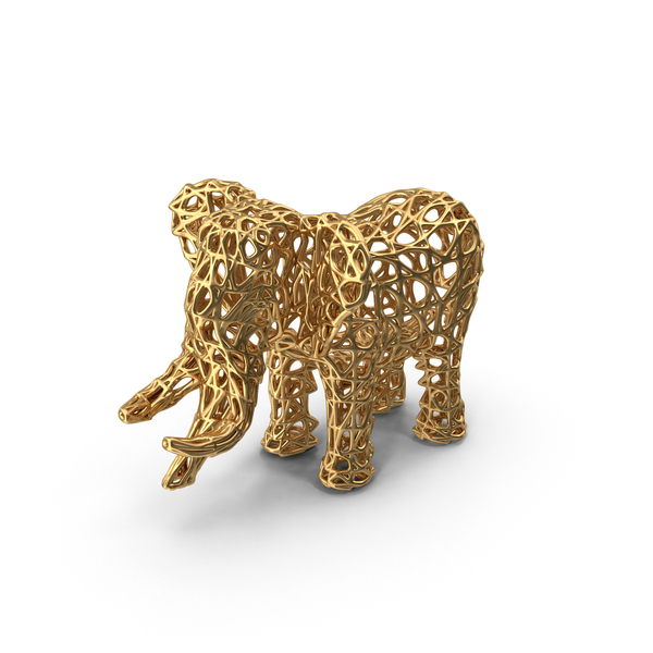 Gold Voronoi Elephant Sculpture PNG & PSD Images
