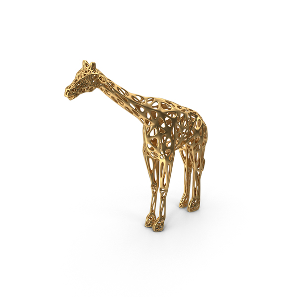 Animal Statue: Gold Voronoi Giraffe Sculpture PNG & PSD Images