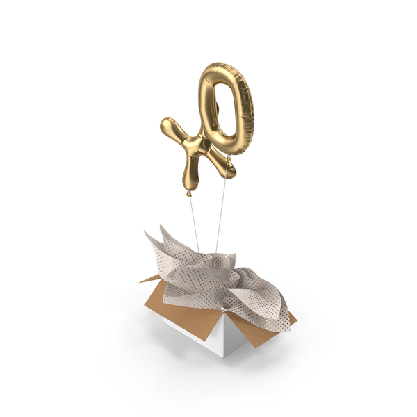 Gold XO Balloons Surprise Box PNG & PSD Images