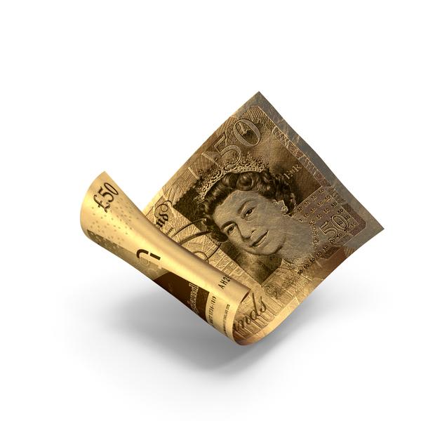 Golden 50 Uk Pound Sterling Banknote Bill PNG & PSD Images