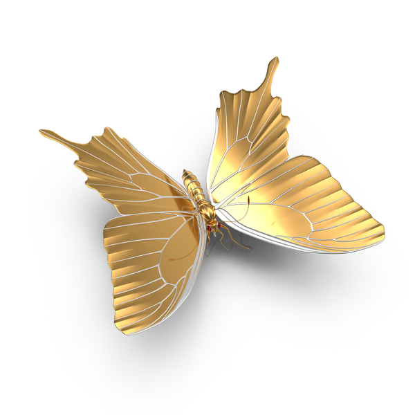 Animal Figurine: Golden Butterfly PNG & PSD Images