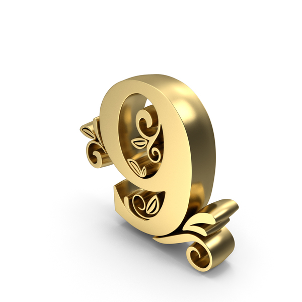 Golden Candle Number 9 PNG & PSD Images