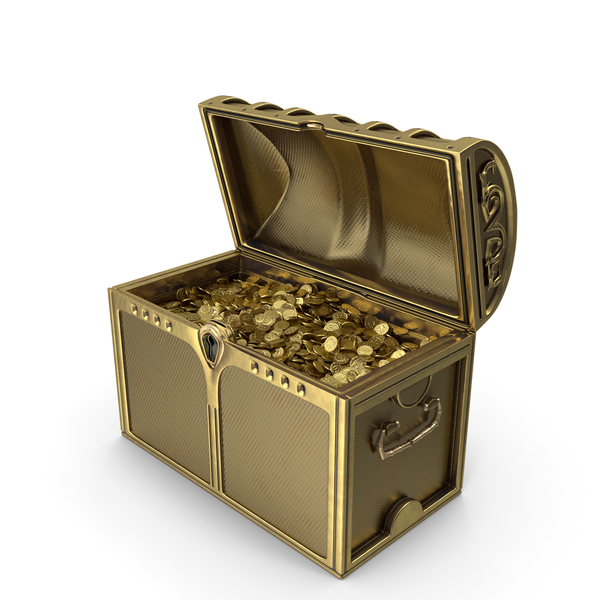 Treasure: Golden Chest With Gold Coins PNG & PSD Images