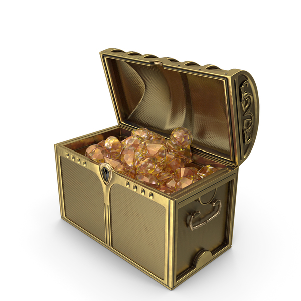 Golden Chest With Huge Amber Gems PNG & PSD Images