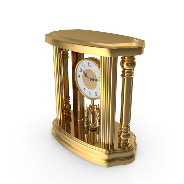 Golden Classical Table Clock PNG & PSD Images