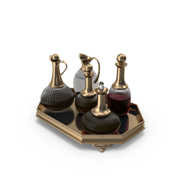Golden Decanter Set With Wine PNG & PSD Images