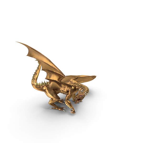 Golden Dragon Looking Backwards PNG & PSD Images
