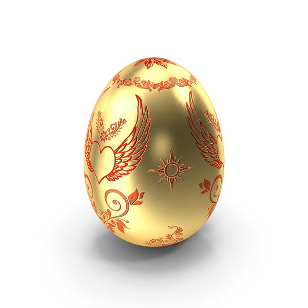 Easter: Golden Egg Heart Design PNG & PSD Images