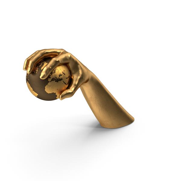 Golden Hand Grabbing a Golden Globe PNG & PSD Images