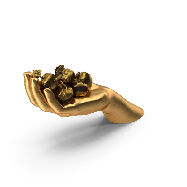 Arms: Golden Hand Handful With Fancy Chocolate Bonbons PNG & PSD Images