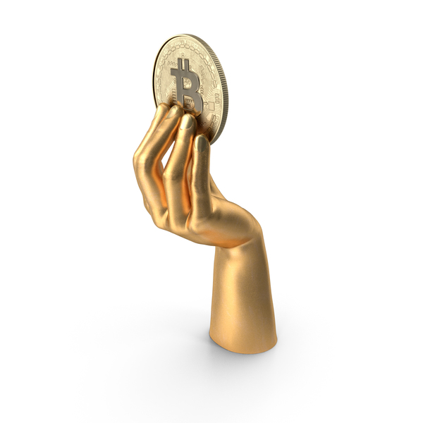 Arms: Golden Hand Holding a Bitcoin PNG & PSD Images