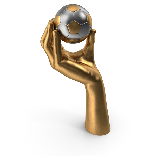 Golden Hand Holding a Gold Silver Soccer Ball PNG & PSD Images