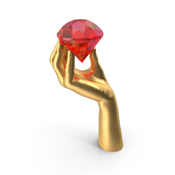 Golden Hand Holding a Large Ruby PNG & PSD Images