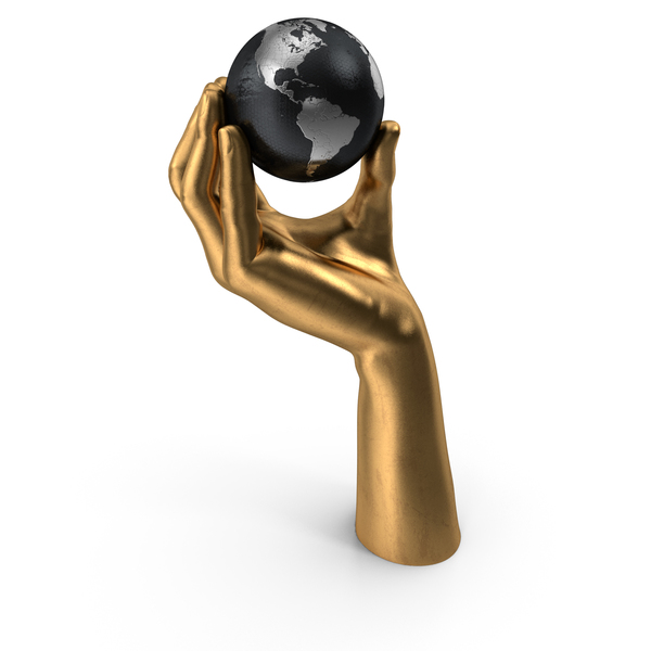 Golden Hand Holding a Silver Earth PNG & PSD Images