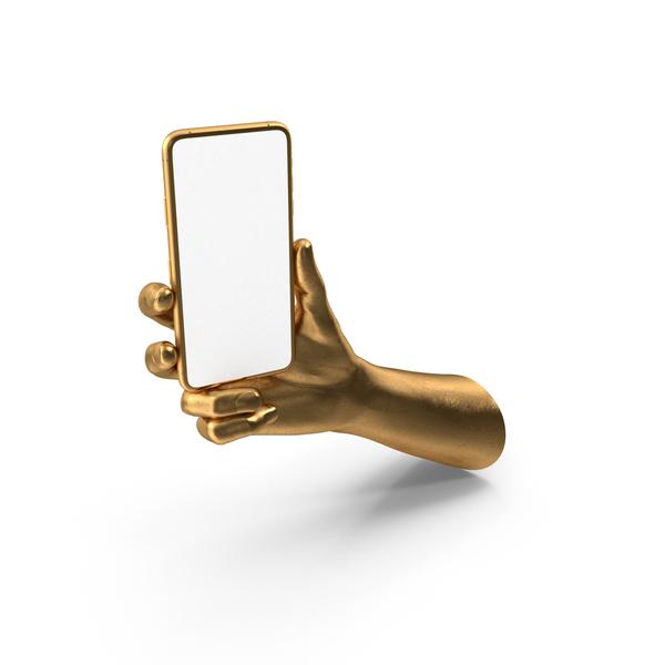 Golden Hand Holding a Golden Smartphone Mockup PNG & PSD Images