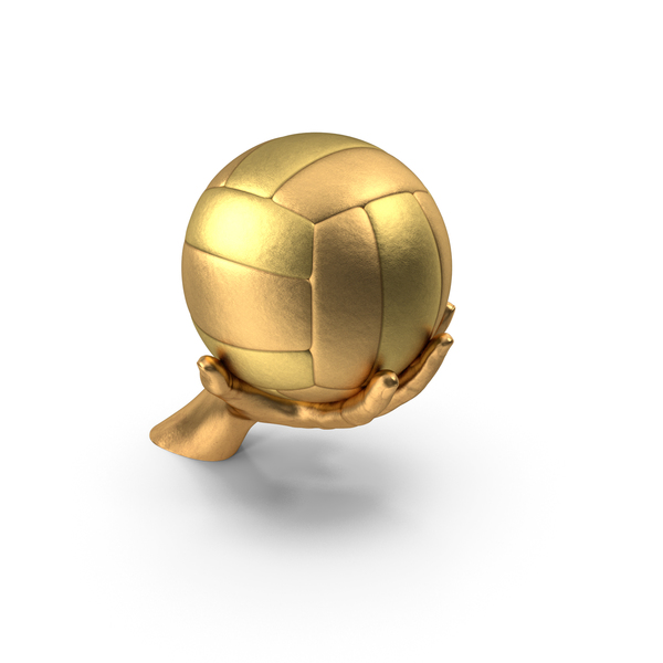 Golden Hand Holding a Golden Volleyball Ball PNG & PSD Images