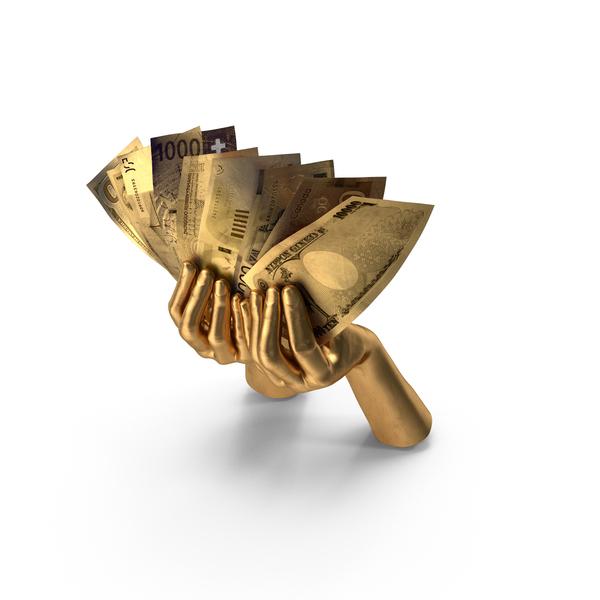 Euro Banknote: Golden Hands Holding Bills PNG & PSD Images