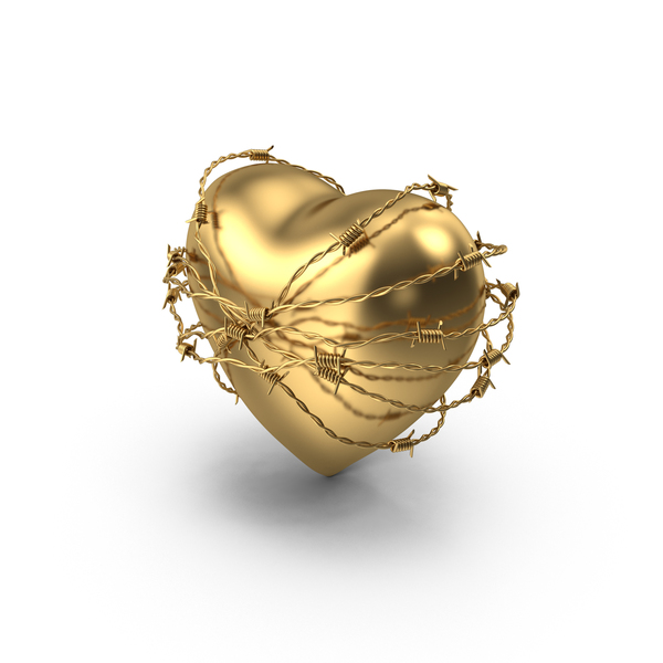 Golden Heart In Barbed Wire PNG & PSD Images
