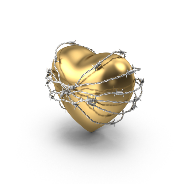 Shape: Golden Heart In Barbed Wire PNG & PSD Images