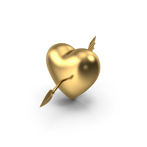 Golden Heart with Arrow PNG & PSD Images