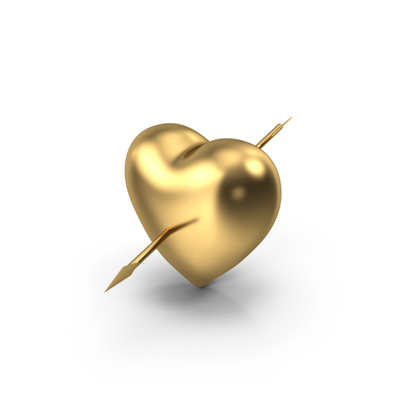 Shape: Golden Heart with Arrow PNG & PSD Images