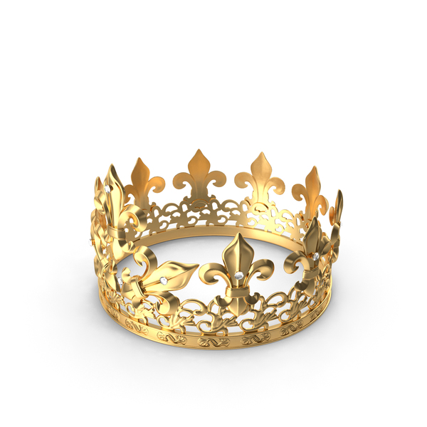 Golden King Crown with Royal Lily and Diamonds PNG & PSD Images