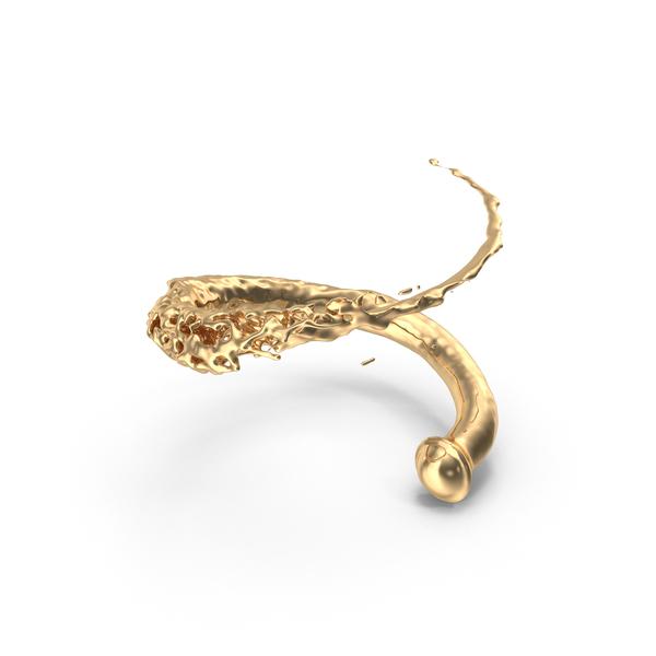 Splash: Golden Liquid Swirl PNG & PSD Images