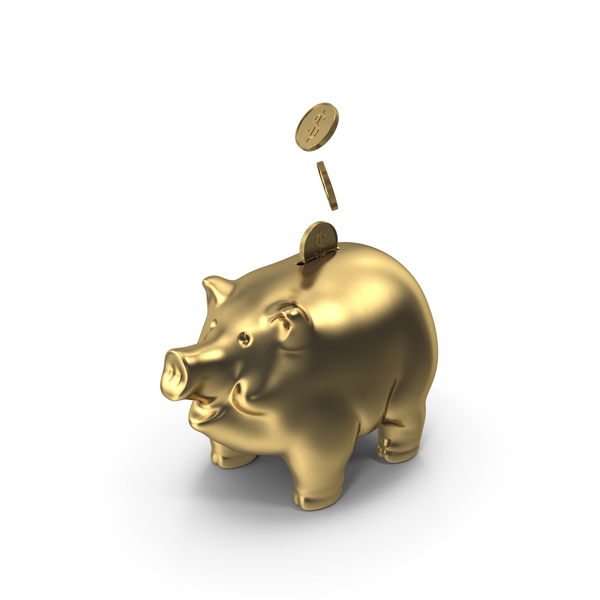 Golden Piggy Bank PNG & PSD Images
