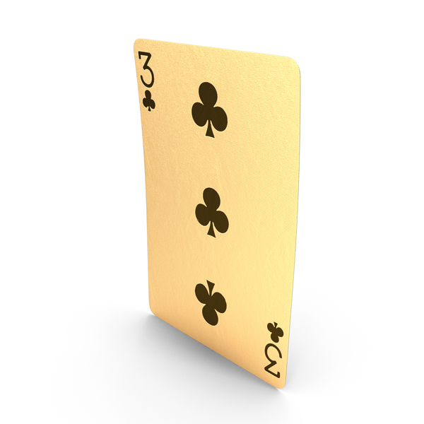 Golden Playing Cards 3 of Clubs PNG & PSD Images