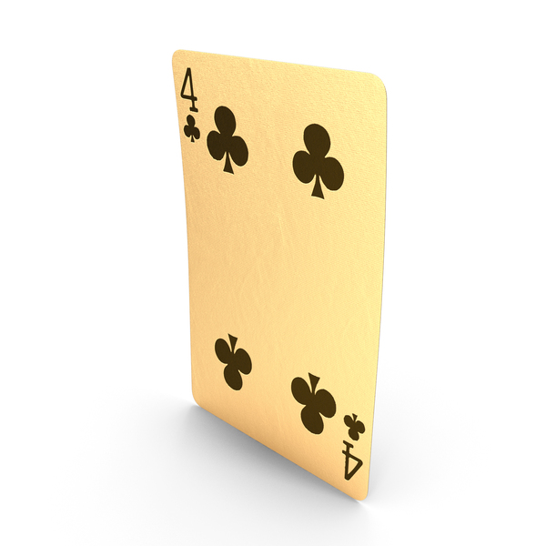 Golden Playing Cards 4 of Clubs PNG & PSD Images