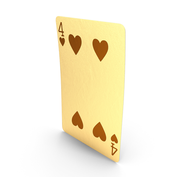 Golden Playing Cards 4 of Hearts PNG & PSD Images