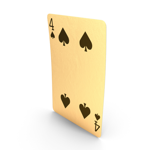 Golden Playing Cards 4 of Spades PNG & PSD Images