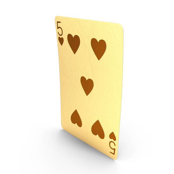 Golden Playing Cards 5 of Hearts PNG & PSD Images