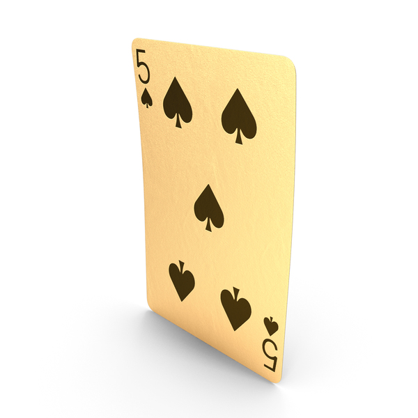 Golden Playing Cards 5 of Spades PNG & PSD Images