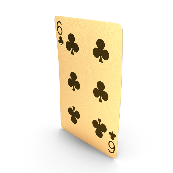 Golden Playing Cards 6 of Clubs PNG & PSD Images