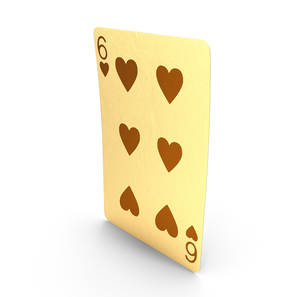Golden Playing Cards 6 of Hearts PNG & PSD Images