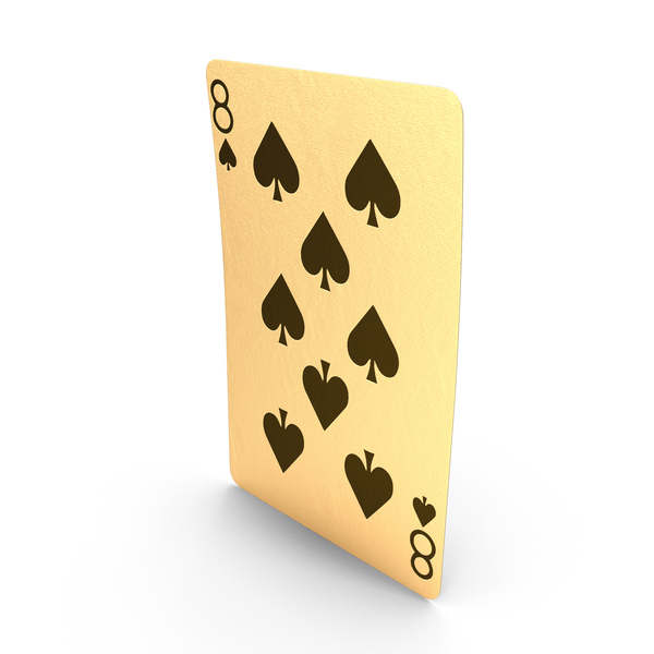 Golden Playing Cards 8 of Spades PNG & PSD Images