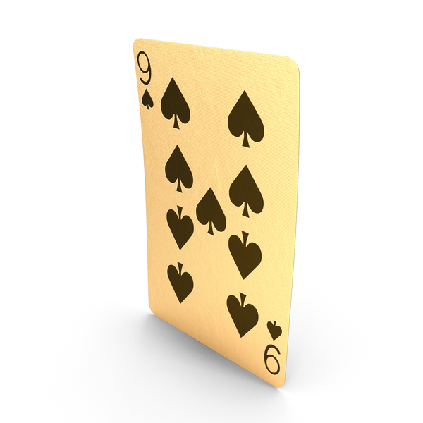 Golden Playing Cards 9 of Spades PNG & PSD Images