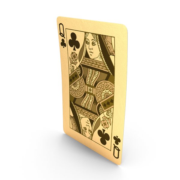 Golden Playing Cards Queen of Clubs PNG & PSD Images