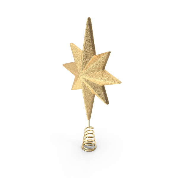 Golden Star Christmas Tree Topper PNG & PSD Images