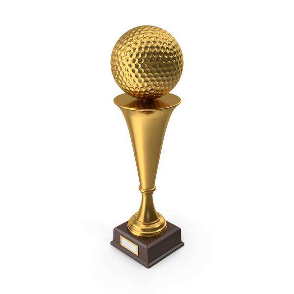 Golden Trophy Golf Ball PNG & PSD Images