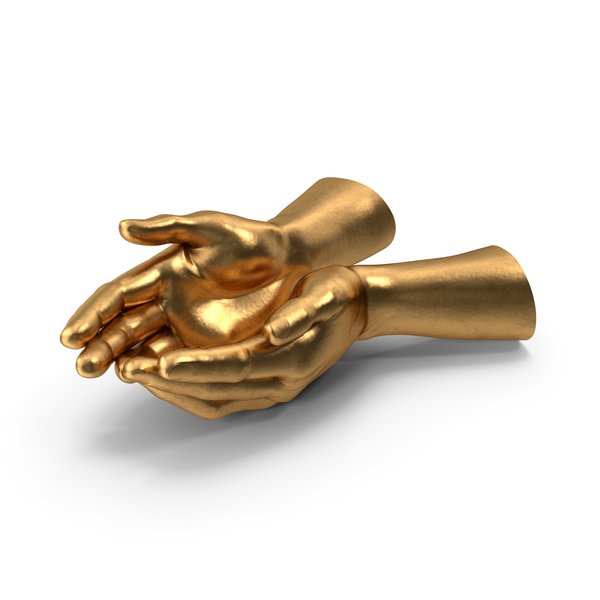Golden Two Hands Handful Pose PNG & PSD Images