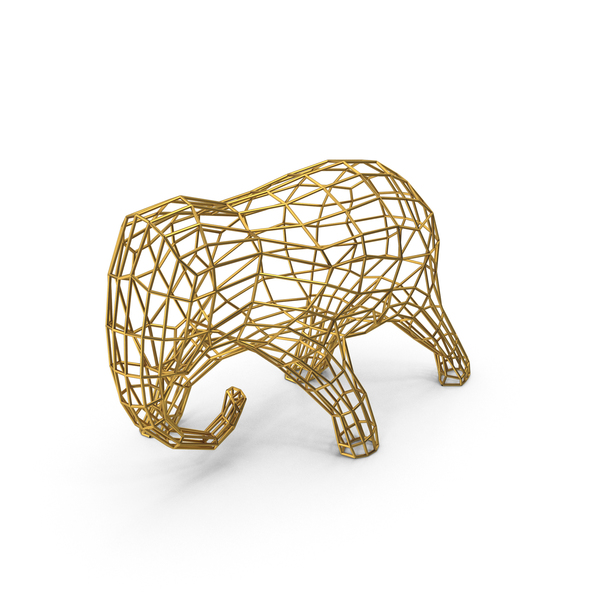 Golden Wire Elephant Sculpture PNG & PSD Images