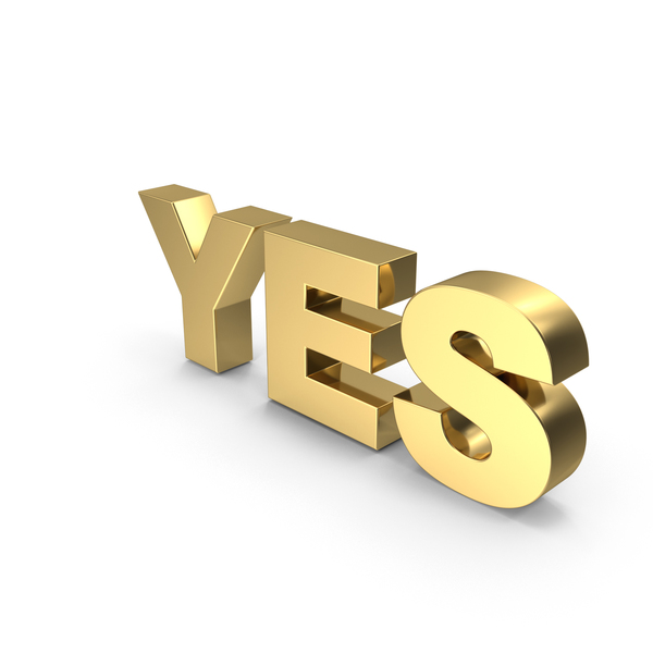 Golden Yes PNG & PSD Images